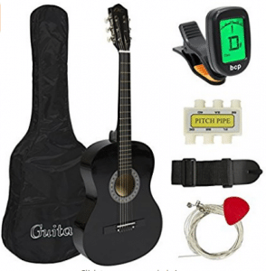 "38"" Black Acoustic Guitar Starter Package, Acoustic Guitar for Kids"