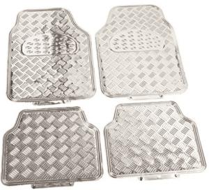 BDK Universal Fit 4-Piece Metallic Design Car Floor Mat