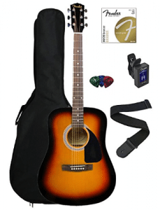 Fender FA-100 Dreadnought Acoustic Guitar Bundle with Gig Bag - Acoustic Guitar for Kids