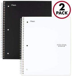 4. Five Star Spiral Notebooks, 5 Subject