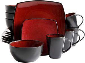 2. Gibson Elite Soho Lounge Square Reactive Glaze Dinnerware Set