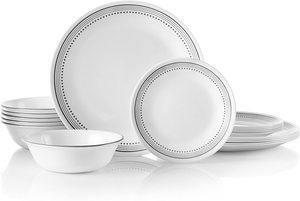 5. Corelle 18-Piece Service for 6, Mystic Gray Dinnerware Set